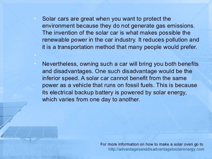The Disadvantages Of A Solar Energy Car
