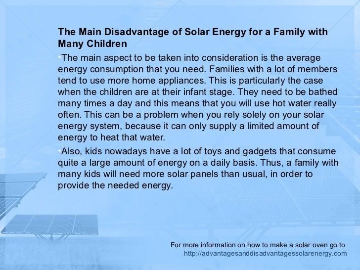 The disadvantages of solar energy for kids for Solar panels information for kids