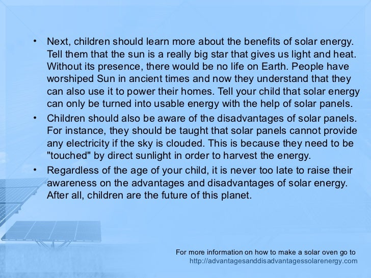 The disadvantages of solar energy for kids for Solar energy information for students