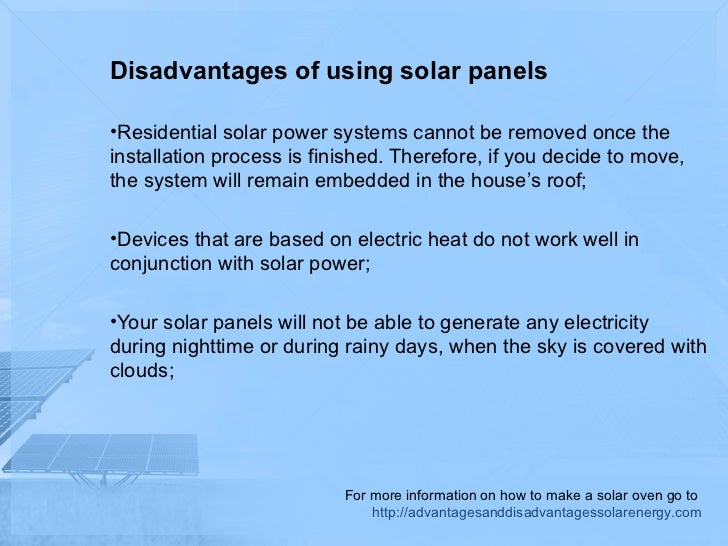 The disadvantages of solar energy in the home