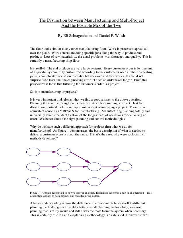 The Distinction between Manufacturing and Multi-Project  And the Possible Mix of the Two  By Eli Schragenheim and Daniel P...