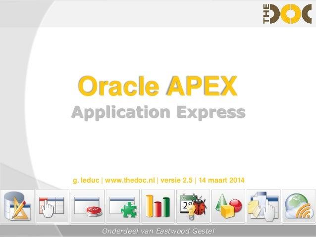 Onderdeel van Eastwood Gestel Oracle APEX Application Express g. leduc   www.thedoc.nl   versie 2.5   14 maart 2014