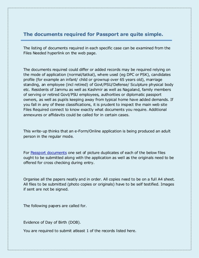 documents required for passport pdf