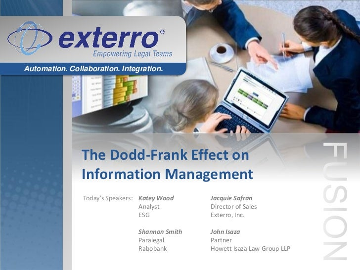 Automation. Collaboration. Integration.                The Dodd-Frank Effect on                Information Management     ...