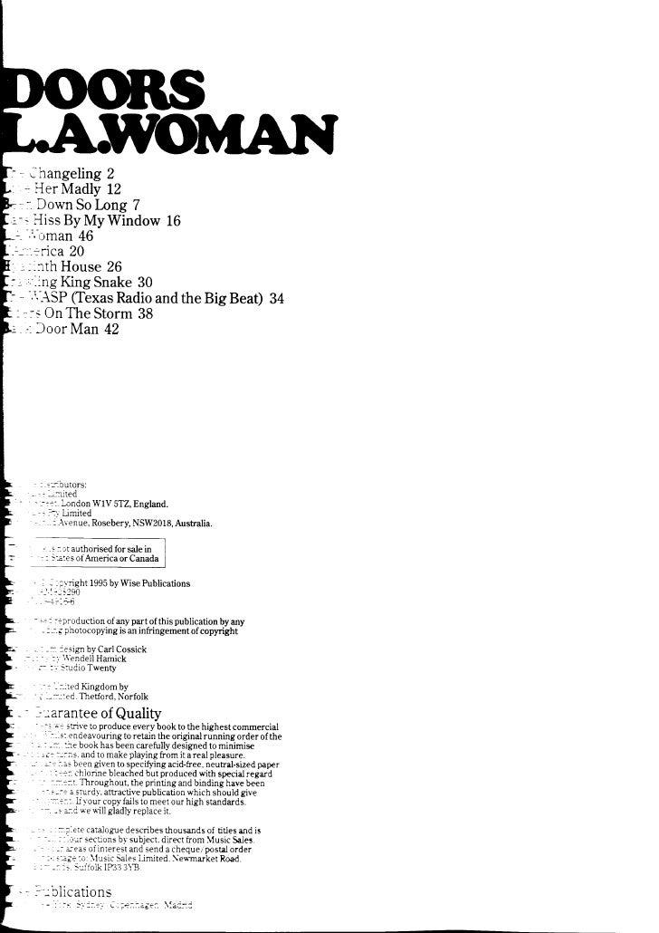 The Doors L.A.Woman Music Sheet