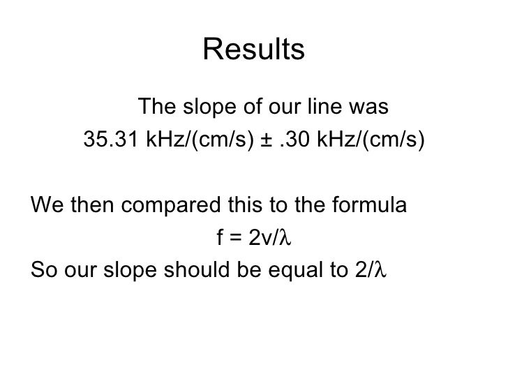 Results <ul><li>The slope of our line was </li></ul><ul><li>35.31 kHz/(cm/s) ± .30 kHz/(cm/s) </li></ul><ul><li>We then co...
