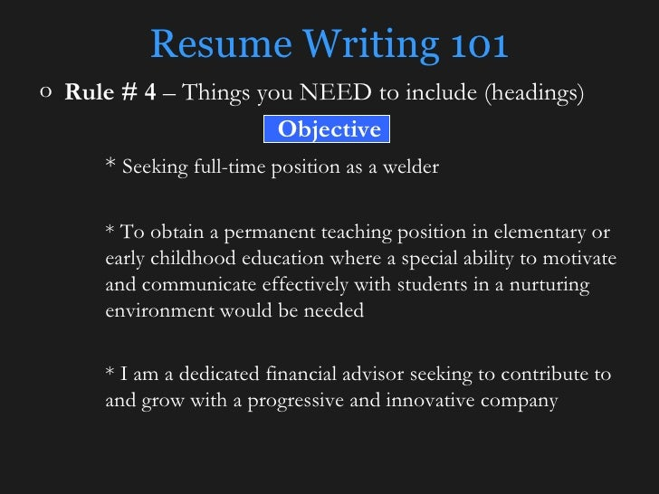 Resume Writing 101 ...