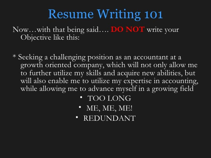 Resume Writing 101 ...