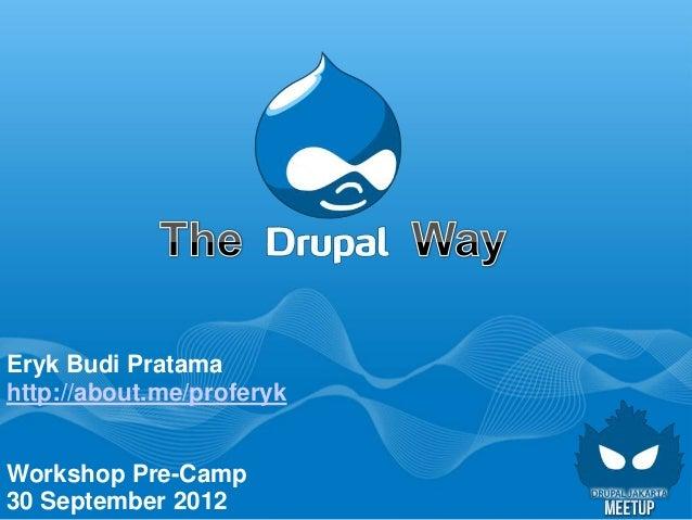 Eryk Budi Pratamahttp://about.me/proferykWorkshop Pre-Camp30 September 2012