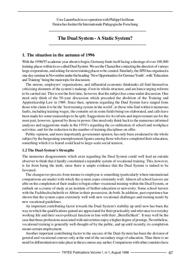 The Dual System - A Static System? TNTEE Publications Volume 1, nr 1, August 1998 67 UweLauterbachinco-operationwithPhilip...