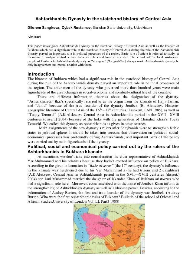 Ashtarkhanids Dynasty in the statehood history of Central AsiaDilorom Sangirova, Oybek Rustamov, Gulistan State University...