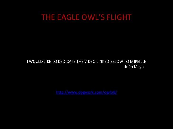 I WOULD LIKE TO DEDICATE THE VIDEO LINKED BELOW TO MIREILLE Juão Maya http://www.dogwork.com/owfo8/ THE EAGLE OWL'S FLIGHT