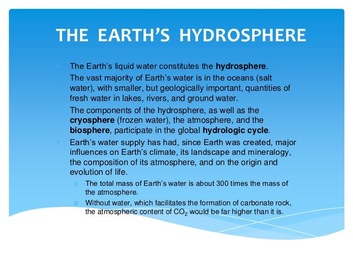 """the hydrosphere The """"water sphere"""" is also known as the hydrosphere this biome includes all the water found on the earth's surface and it includes: air, groundwater, soil, lakes, streams, and oceans the ."""