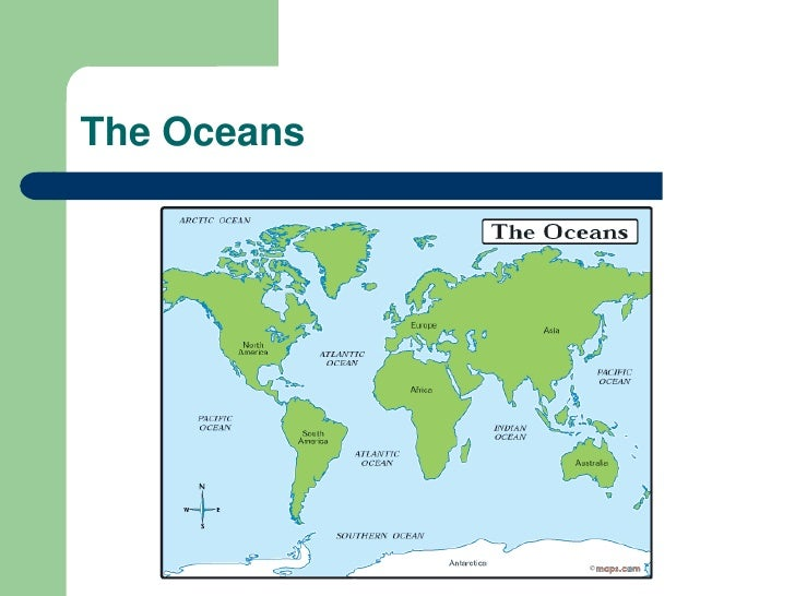 The Earths Relief - Names of oceans on earth