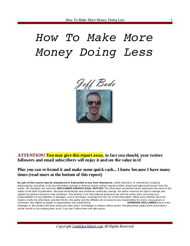 How To Make More Money Doing Less                                                               1                HowToMa...