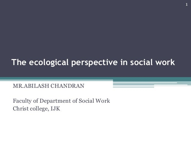 The ecological perspective in social work MR.ABILASH CHANDRAN Faculty of Department of Social Work Christ college, IJK 1