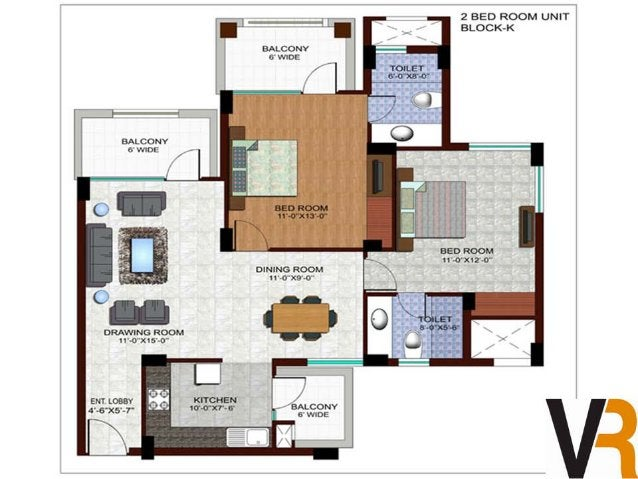 3 BED ROOM UNIT.  TOWER-L  . — . . _.   u. -u. co~v l.  ; . . -. -.. m ' BALCONY I ' .  w in  '.1 '2  l  BLD ROOM l     H ...