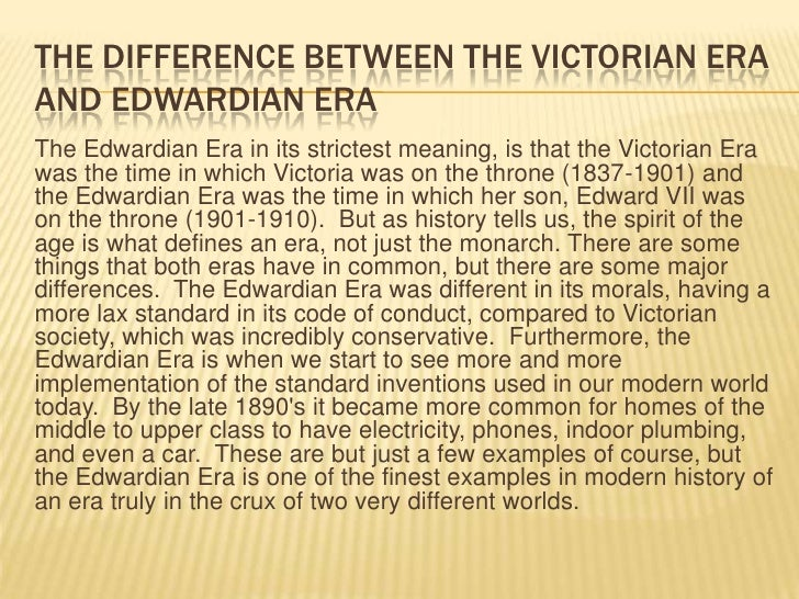 the differences between romantic period and victorian period Romanticism and victorianism are two interlocking literary eras that occurred between 1789 and 1870 the romanticism period preceded the victorianism era romantics wrote between 1784 and 1832 the romanticism period is famous for its prose and poetry the victorian era occurred between 1832 and 1901(christ.