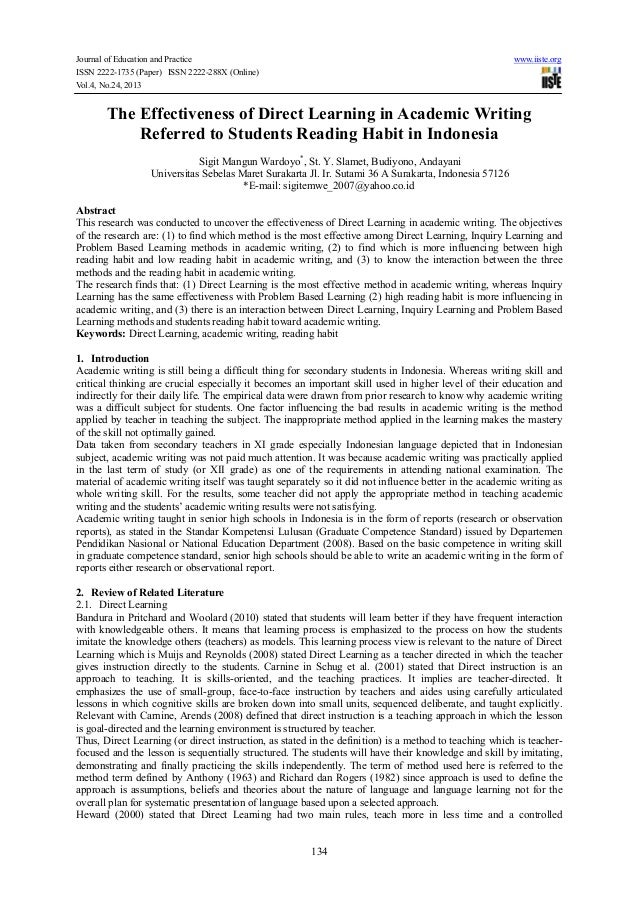 Journal of Education and Practice ISSN 2222-1735 (Paper) ISSN 2222-288X (Online) Vol.4, No.24, 2013  www.iiste.org  The Ef...
