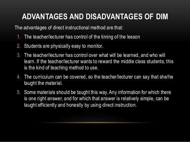 advantages and disadvantages of direct instruction