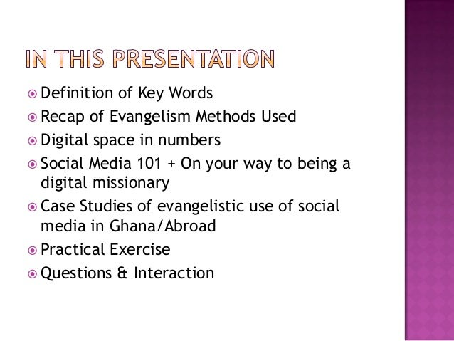 methods to evangelism Okay, so you want to engage in evangelization—but you're not quite sure what to do, or you're a little shy, or you don't have much time, and you certainly don't have much money what can you do that will make a difference here are 12 painless ways to evangelize, easy methods to spread the.