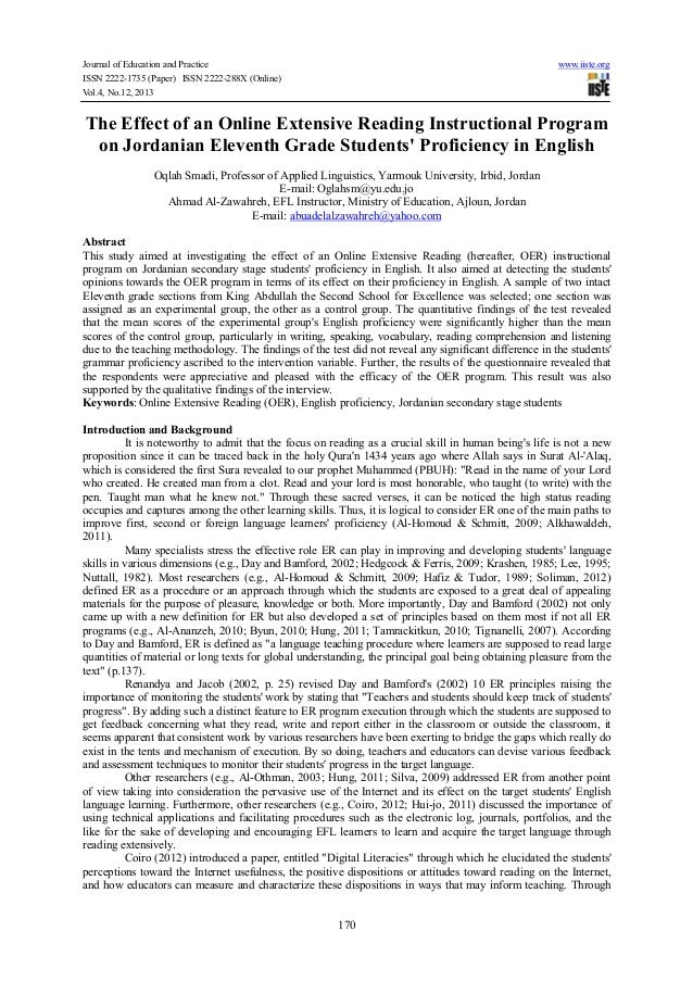 Journal of Education and Practice www.iiste.org ISSN 2222-1735 (Paper) ISSN 2222-288X (Online) Vol.4, No.12, 2013 170 The ...