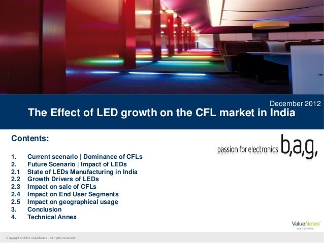 December 2012               The Effect of LED growth on the CFL market in India   Contents:   1.          Current scenario...