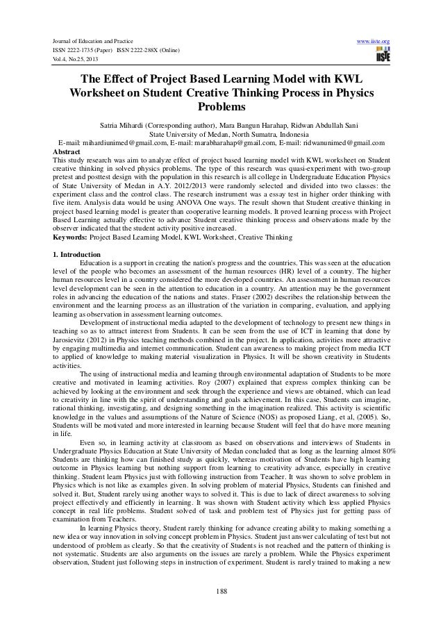 The effect of project based learning model with kwl worksheet on stud…