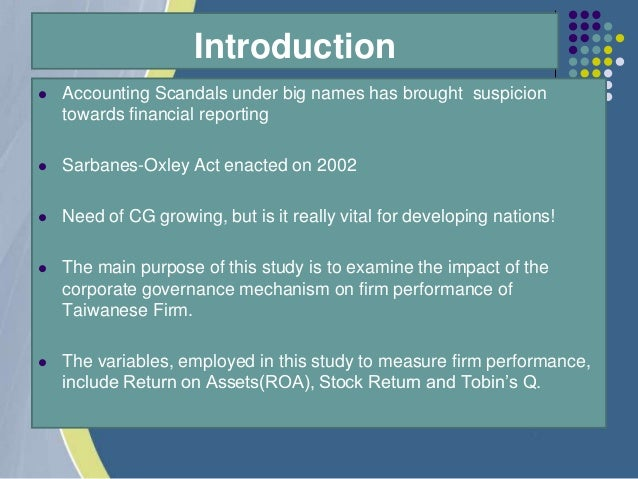 corporate governance score and firm performance We regressed mtbvr and roe against the factor scores generated mtbvr   keywords corporate governance, firm performance, principal.