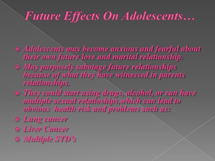 impact of divorce on adolescence behavior Over and over, in studies that break down the effects of divorce on children according to gender and age group, their universal reactions are listed - shock, followed by depression, denial, anger .