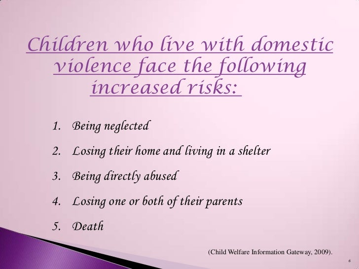 the negative effects of domestic violence on children Impact of domestic violence on children and young people  children who live in homes where there is domestic violence grow up in an.