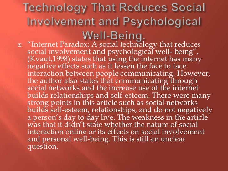 the effects of social networks on personal relationships internet