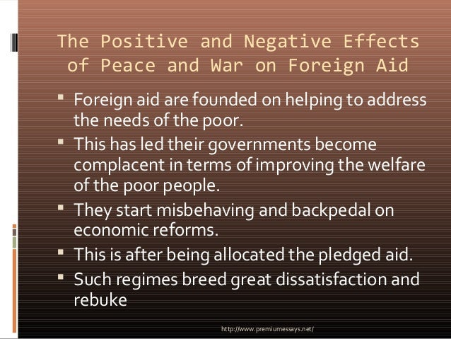 positive effects of foreign aid to The positive effects of international trade on emerging countries  in which developing countries engage to lower environmental standards to attract foreign.