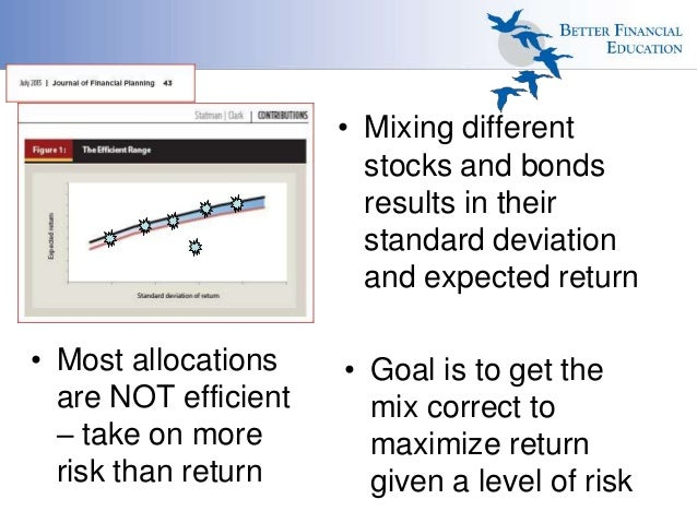 • Mixing different stocks and bonds results in their standard deviation and expected return • Most allocations are NOT eff...