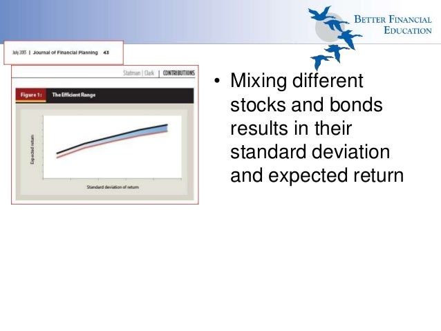 • Mixing different stocks and bonds results in their standard deviation and expected return