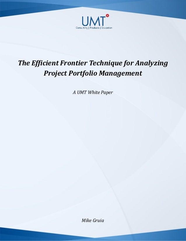 The Efficient Frontier Technique for Analyzing Project Portfolio Management