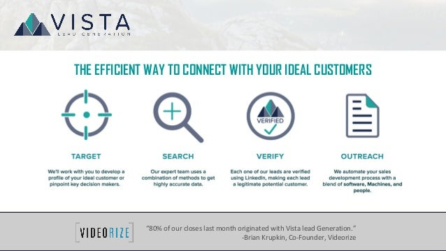"THE EFFICIENT WAY TO CONNECT WITH YOUR IDEAL CUSTOMERS . ""80% of our closes last month originated with Vista lead Generati..."