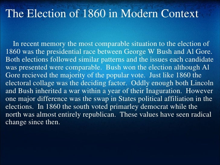 essay on the election of 1860 Free college essay election of 1860: how could lincoln have lost the election green 1 nikki g 4/24/06 american government 7:30a mw election of 1860: how could lincoln have lost the.