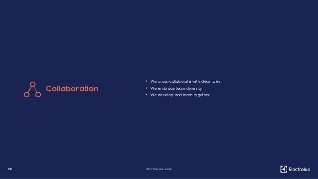 3 8 02. How we work • We cross-collaborate with clear roles • We embrace team diversity • We develop and learn together Co...