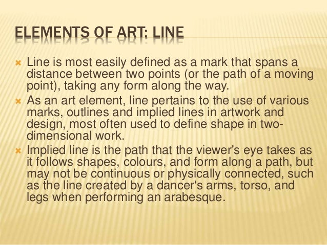 Line Art Define : The elements of art