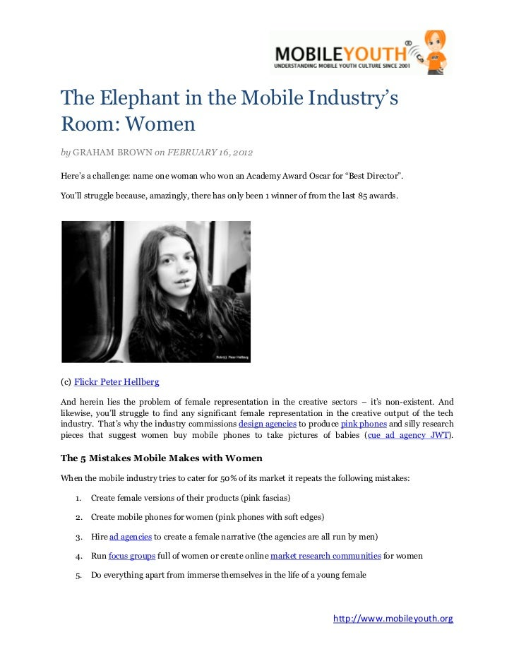 The Elephant in the Mobile Industry'sRoom: Womenby GRAHAM BROWN on FEBRUARY 16, 2012Here's a challenge: name one woman who...