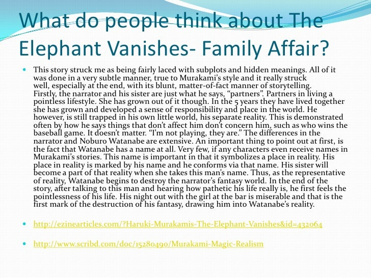 elephant vanishes In these stories, a man sees his favorite elephant vanish into thin air a newlywed   by turns haunting and hilarious, in the elephant vanishes.