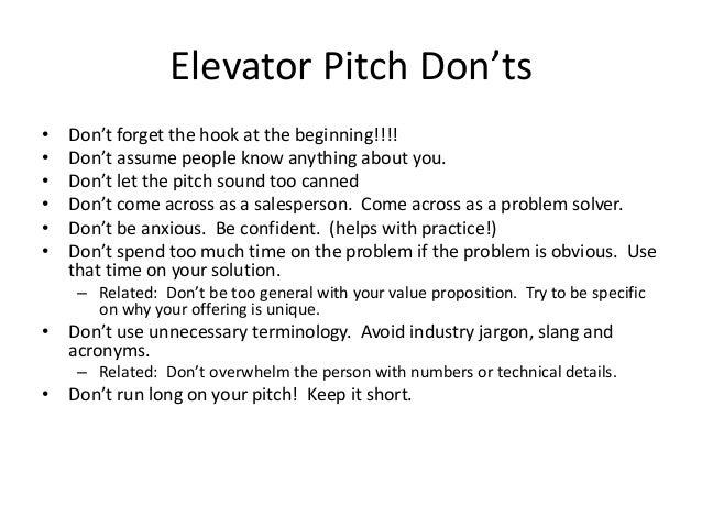 elevator pitch samples