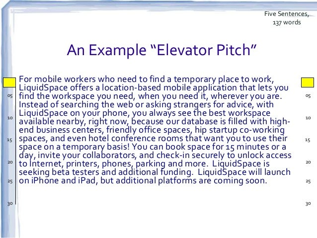 Updated the elevator speech and investor pitch for 30 second pitch template