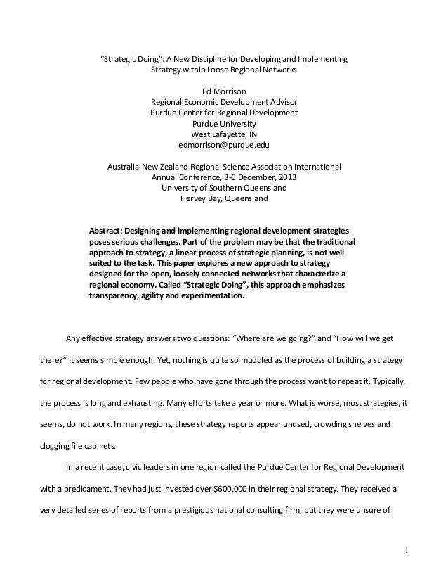 "1 ""StrategicDoing"":ANewDisciplineforDevelopingandImplementing StrategywithinLooseRegionalNetworks  EdMorr..."