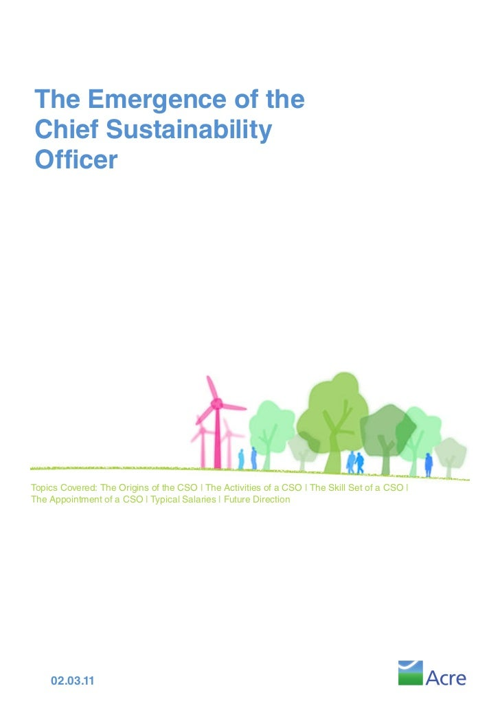 The Emergence of theChief SustainabilityOfficerTopics Covered: The Origins of the CSO | The Activities of a CSO | The Skil...
