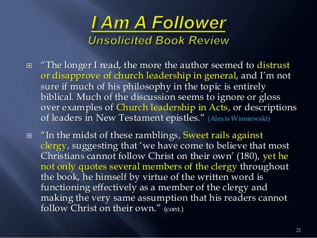 """ """"The longer I read, the more the author seemed to distrust or disapprove of church leadership in general, and I""""m not su..."""
