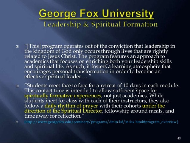 """40  """"[This] program operates out of the conviction that leadership in the kingdom of God only occurs through lives that a..."""