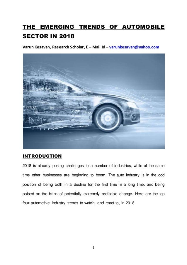 recent trends in automobile 2019