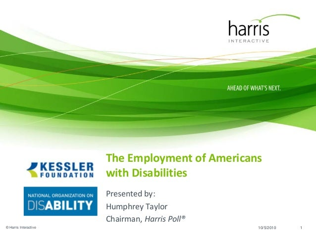 The Employment of Americans with Disabilities Presented by: Humphrey Taylor Chairman, Harris Poll® © Harris Interactive 11...